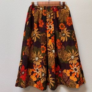 Summer Fall Floral Midi Skirt